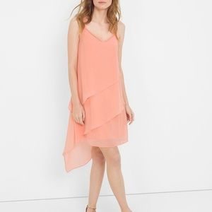 NWT WHBM Tiered Peach Chiffon Dress